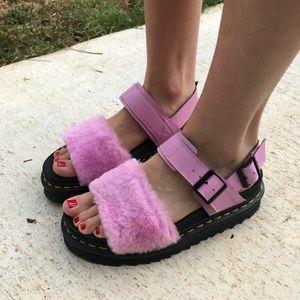 DOC MARTENS Fluffy Baby Pink Platform Voss Sandals